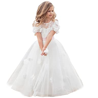 Amazon.com: Girls White Dress Floral Lace Appliques Tulle Ball Gowns ...