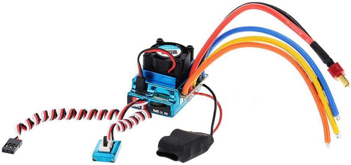 120A Jinxuny Controlador de Velocidad el/éctrico ESC sin escobillas Controlador de Velocidad sin escobillas Sensored ESC para RC 1//8 1//10 1//12 Rastreador de veh/ículos