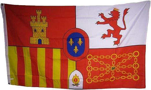 Español España escudo de León castillo cadena 3 x 5 bandera Banner interior/exterior casa Banner con doble costura resistente a la decoloración Premium calidad: Amazon.es: Jardín