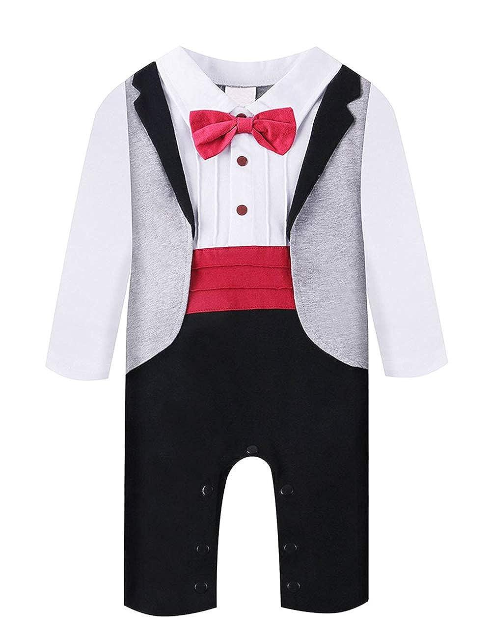 A&J Design Bébé Boys Romper Manches Longues Chemise Blanche Combinaison Gris Smoking avec Red Bowknot Cravate