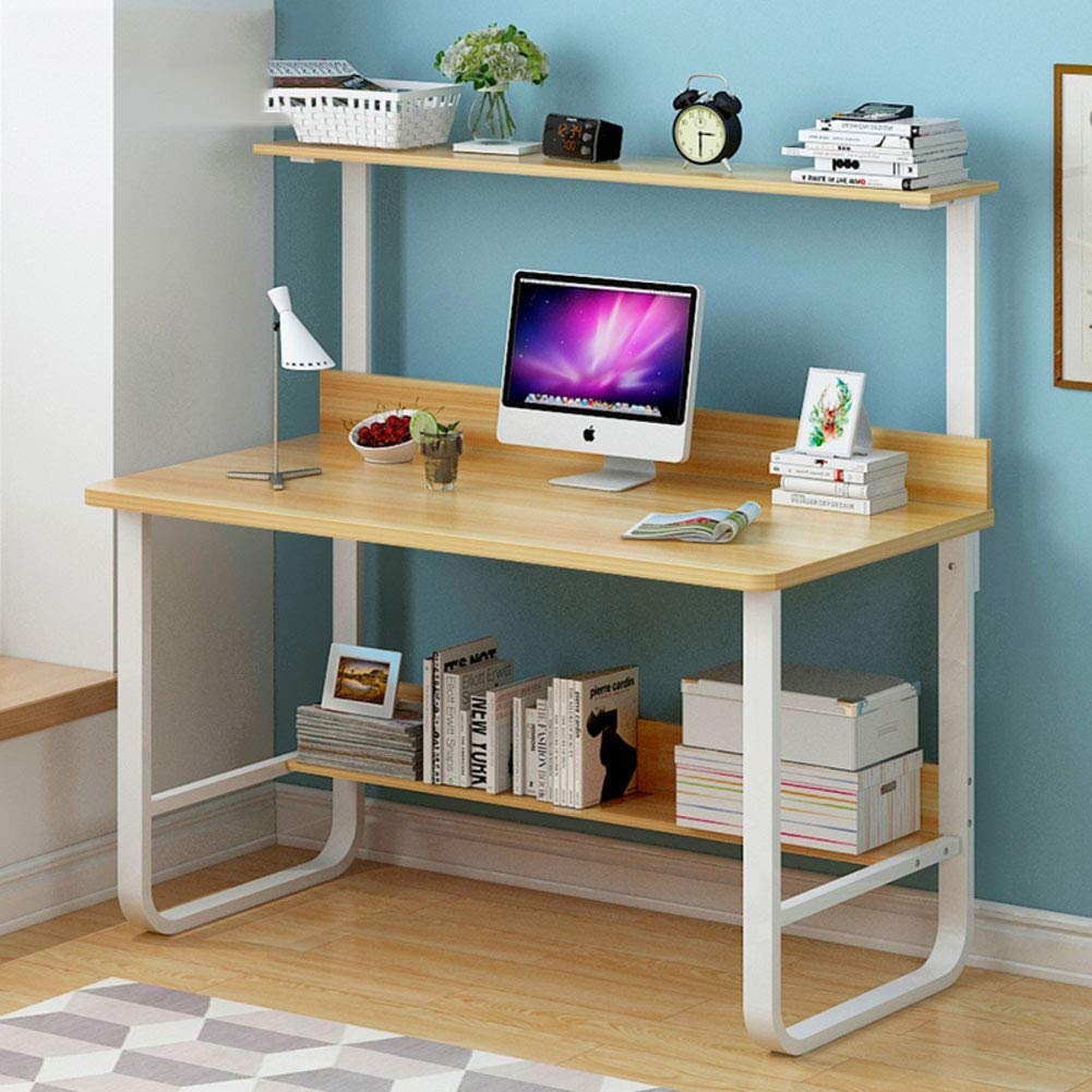 YQ WHJB Home Computer Desk with Storage Shelves,Writing Computer Table Multipurpose Student Studying Table Workstation-f 120x60x123cm(47x24x48inch)