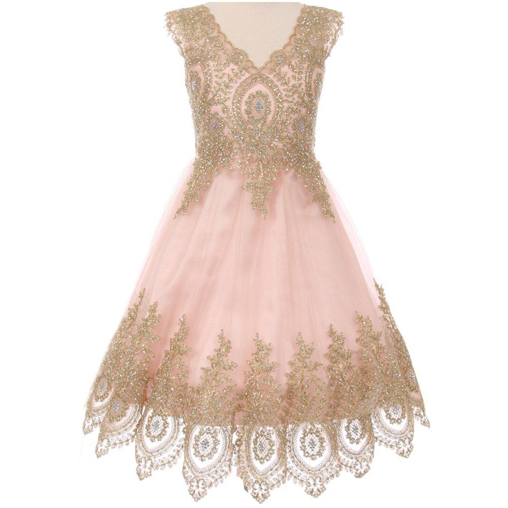 Big Girls Fabulous Sleeveless Gold Coiled Lace Mesh Tulle Skirt Flower Girl Dress Blush - Size 12