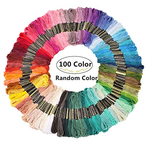 100 Skeins Rainbow Color Embroidery Thread, Magnoloran Handmade Craft Floss Cross Stitch Threads Friendship Bracelets Floss Perfect Embroidery Floss Kit for Beginners
