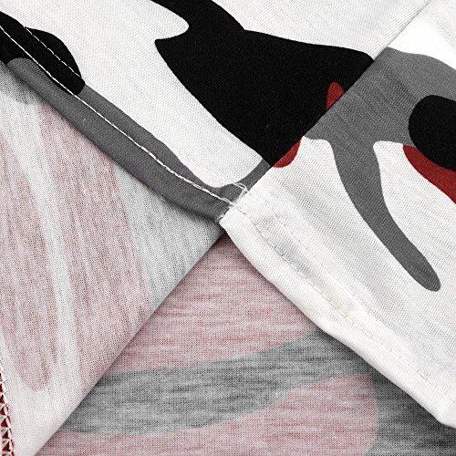 a Spalline Camicetta Maglietta Lunga Senza Camuffare Mecohe Fashion Rosso Top Manica Casuale da Donna Donna TZnEq