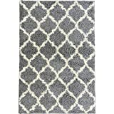 Ottomanson Collection shag Trellis Area Rug, 5'3' x 7', Gray