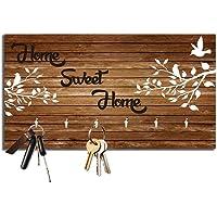 Studio Shubham Home Sweet Home Wooden Key Holder (23.4cm X 12.8cm X 3cm, Brown)
