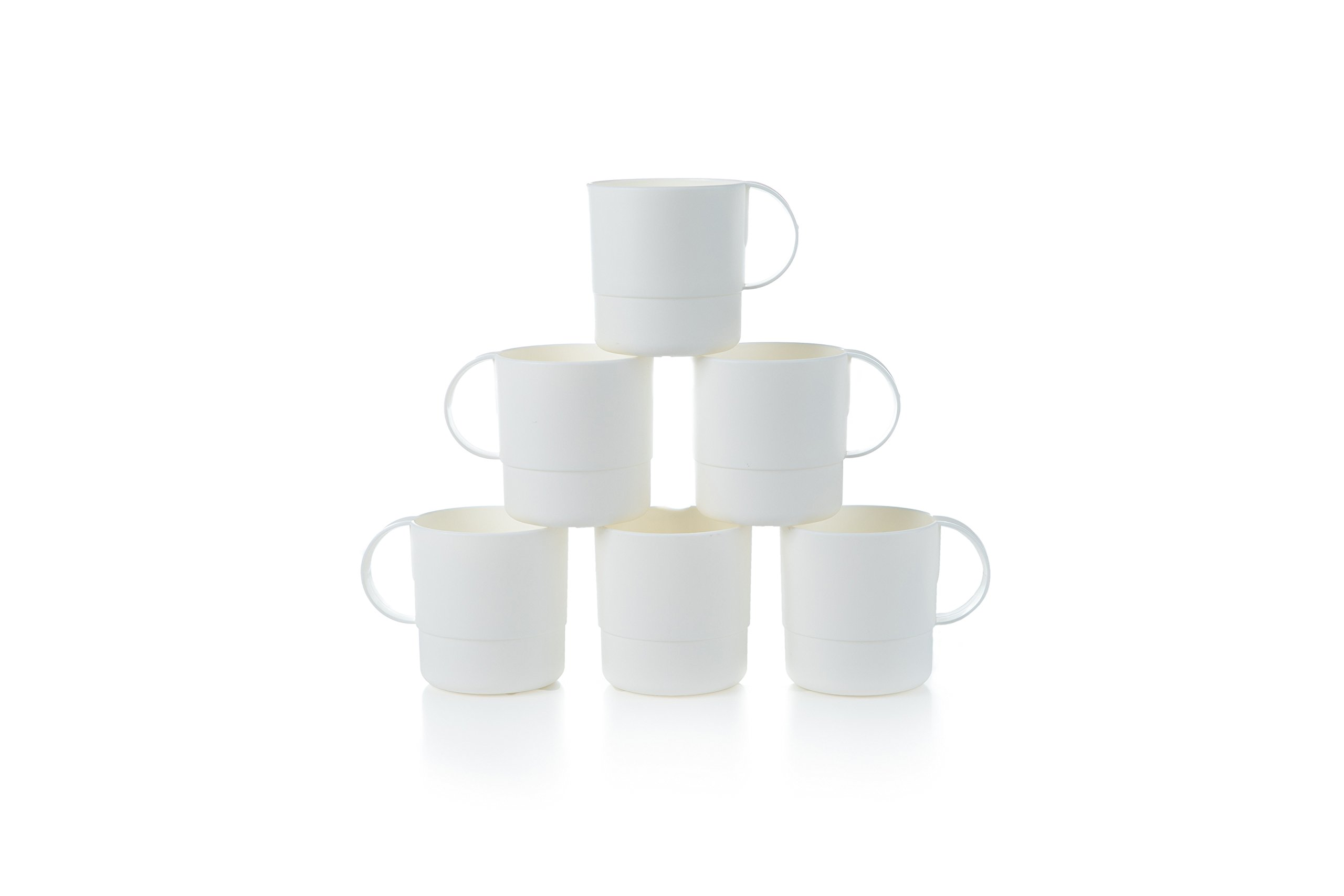 Amuse- Eco Friendly Sturdy Unbreakable & Stackable Mugs for Water, Coffee, Milk, Juice, Tea- Set of 6-11 oz (White)
