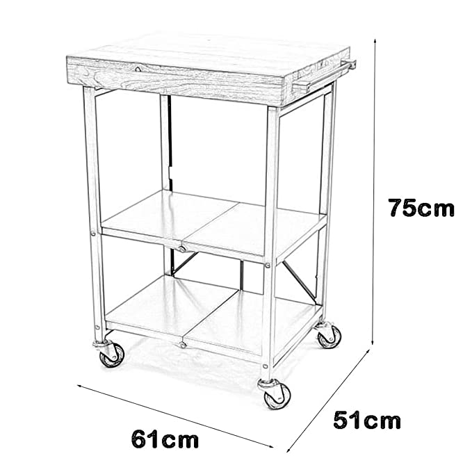 Amazon.com - Metal Solid Wood Serving Cart Wine Tea Trolley, Foldable with Lockable Wheels Utility Storage Holder Rack, for Bar Hotel Dining Room Kitchen ...
