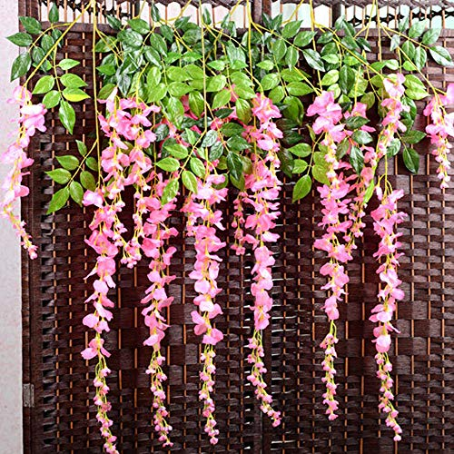 TRvancat Artificial Wisteria Hanging Vine 12 Pack 3.6FT/pcs, Fake Silk Flowers in Natural Chain Garland for Outdoor Wedding Ceremony Arch Party Home Garden Decor (Pink) from TRvancat