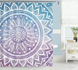 "Uphome Mandala Fabric Shower Curtain, Ombre Blue Purple Boho Chic Customized Bathroom Cloth Shower Curtain, Waterproof (72"" W x 72"" H, Medallion)"