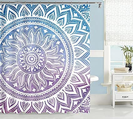 Uphome Mandala Fabric Shower Curtain Ombre Blue Purple Boho Chic Customized Bathroom Cloth