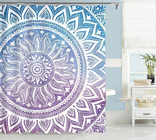 Uphome Mandala Fabric Shower Curtain, Ombre Blue Purple Boho Chic Customized Bathroom Cloth Shower Curtain, Waterproof (72