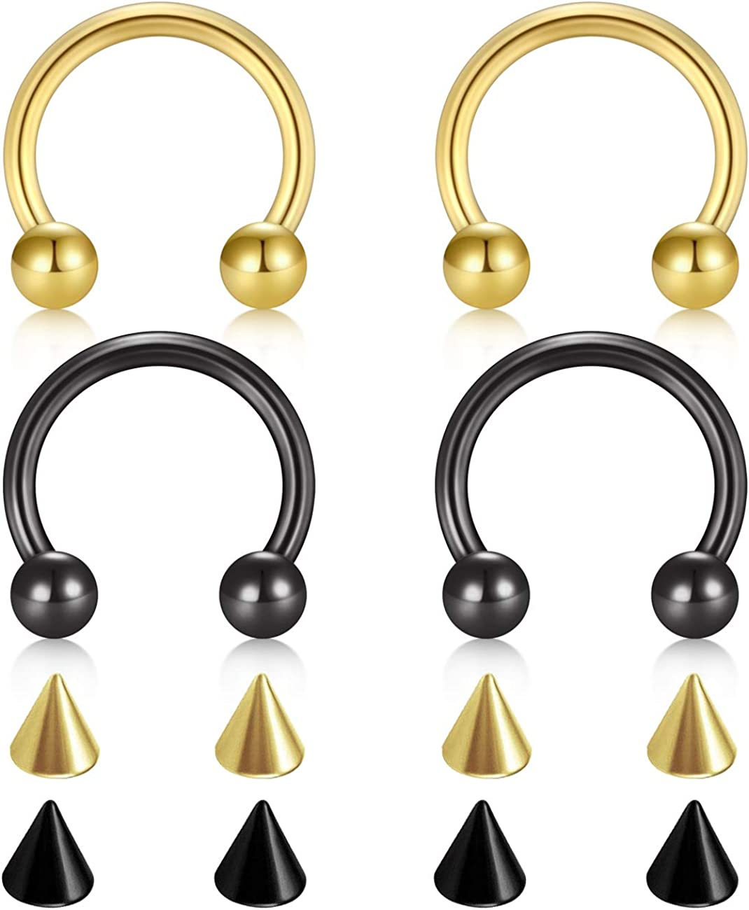 D.Bella 14G 16G 18G 20G Surgical Steel Nose Septum Horseshoe Hoop Eyebrow Lip Navel Belly Nipple Piercing Ring 8mm 10mm Helix Tragus Daith Rook Earrings w Replacement Spikes