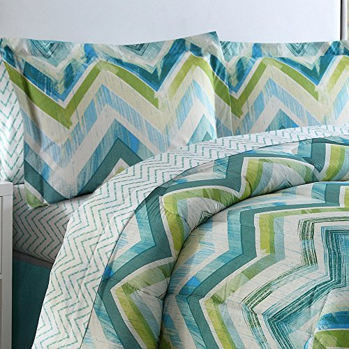 Blue Ellison Great Value Connor Chevron 8 Piece Bed in a Bag Queen