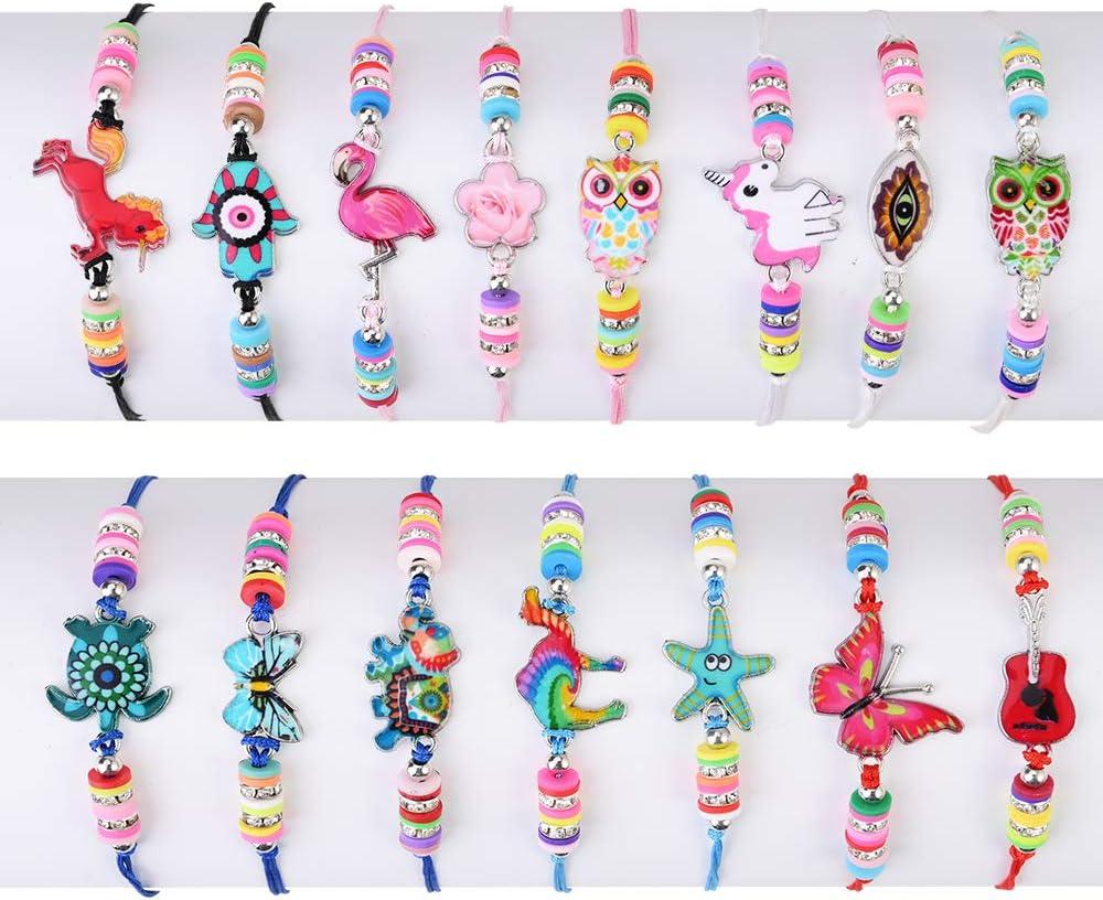 Fabur 15 Piezas Pulsera Amistad Pulsera Niña, Niña Pulsera Unicornio Trenzada Brazalete Joyería Niña Amistad Pulsera de Animales para Niña Regalo de Cumpleaños de Fiesta