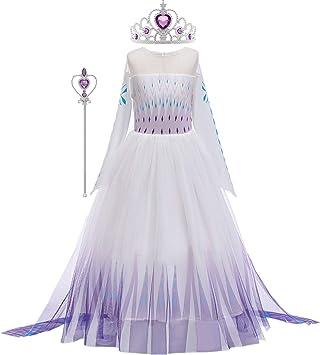 O.AMBW Elsa Disfraz Chica Reina de las Nieves 2 Princesa Azul ...