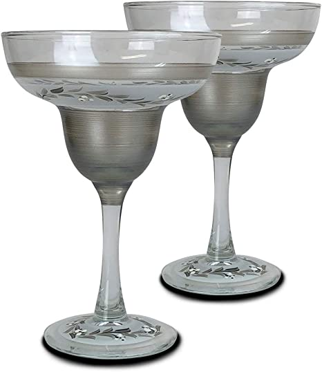 Golden Hill Studio Martini Glasses Hand Painted in the USA by American Artists-Set of 2-Pewter Vine Collection
