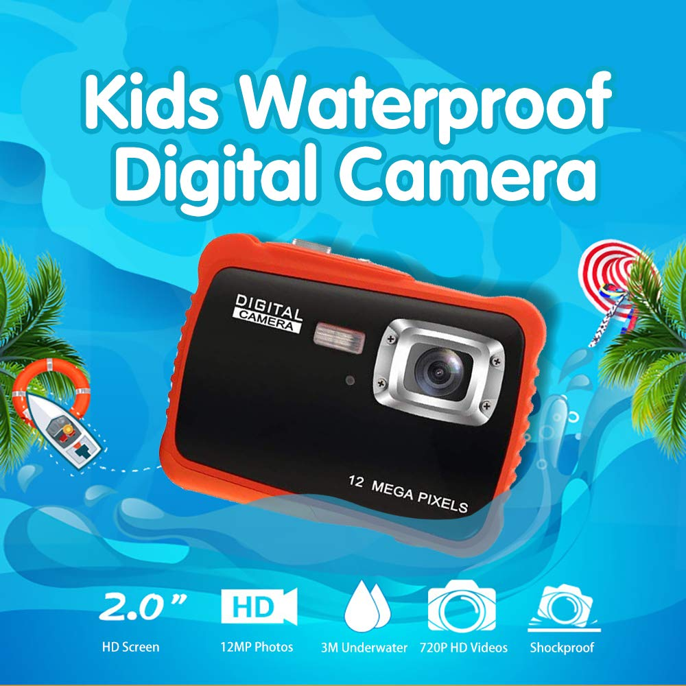 Kids Waterproof Camera Digital Camera for 4-10 Years Old Children, 12MP HD Underwater Action Camera Camcorder with 8X Digital Zoom, 2.0 Inch LCD Display, 16G Micro SD Card - Easy to Use (Orange) by tesha (Image #2)