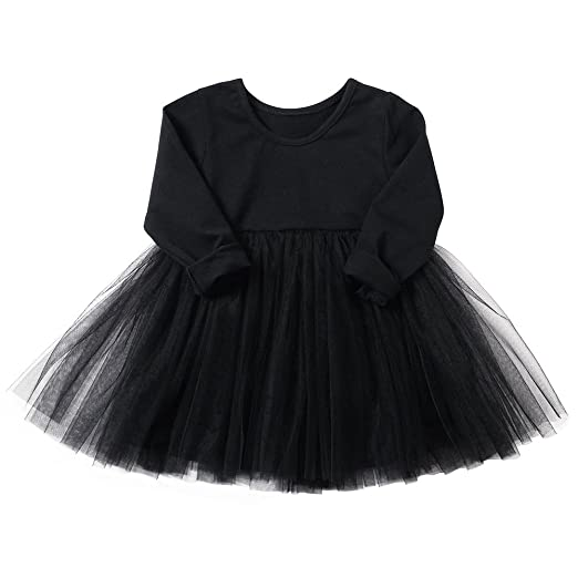 778fb545d0f Amazon.com  Baby Girls Black Dress Tutu Long Sleeves Ruffle Tulle 6 ...