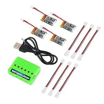4pcs 1S 3.7V 220mAh LiPo batería 35C con 6-en-1 Cargador y Cable ...