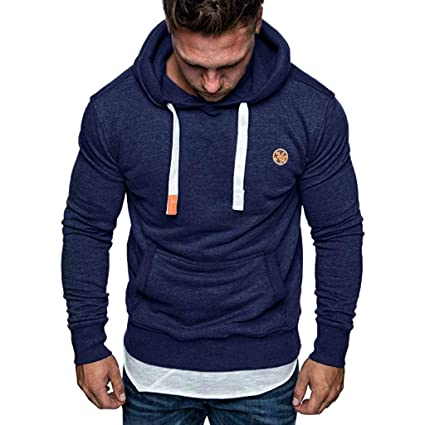 a6836981 Men Hunzed Men【Long Sleeved Solid Color Pullover】 Mens Hooded Casual  Sweatshirt Tops