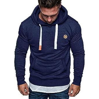 Yazidan Herren Langarm Herbst Winter Casual Sweatshirt Hoodies Top Bluse Fit Kapuzenpullover Herren | Sport Fitness Gym Train