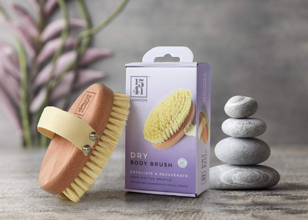 1541 London Dry Skin Body Brush with Natural Cactus Bristle - Lymphatic Drainage Massager - Dry Body Brush for Skin Exfoliation
