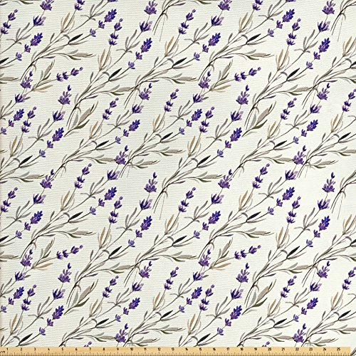 Ambesonne Purple Decor Fabric by The Yard, Lavender Paint Style Pattern French Fragrance Organic Herb Theme Country Cottage Print, Decorative Fabric for Upholstery and Home Accents, Violet Beige