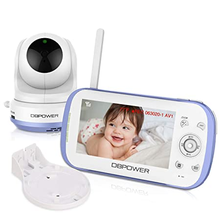 Upgrade DBPOWER Long Range Two Way Talk Video Baby Monitor with 4.3 LCD Screen, Support MicroSD Card Up to 32GB not Included , Night Vision, Pan-Tilt-Zoom, Lullabies, Temperature Monitoring, VOX