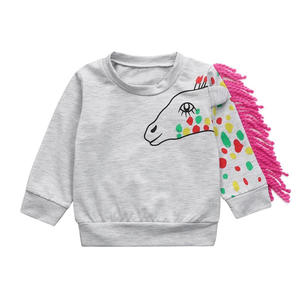 Dinglong Toddler Infant Baby Cartoon Unicorn Tassel T-Shirt Tops Sweatshirt Pullover Outfits - Age 0-24 Months Child Clothes