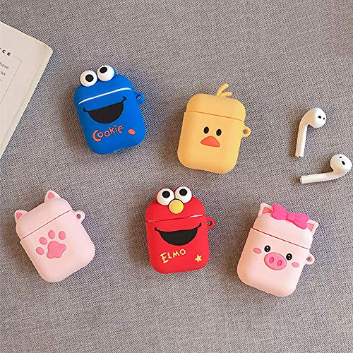 UR Sunshine AirPods Case, Super Cute Creative Cartoon Shape Matte Surface Soft Silicone Case Cover Protective Skin for Apple AirPods-ELMO