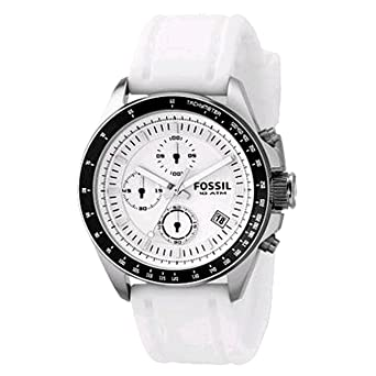 Fossil Mens Quartz Stainless Steel and Silicone Dress Watch, Color:White (Model: