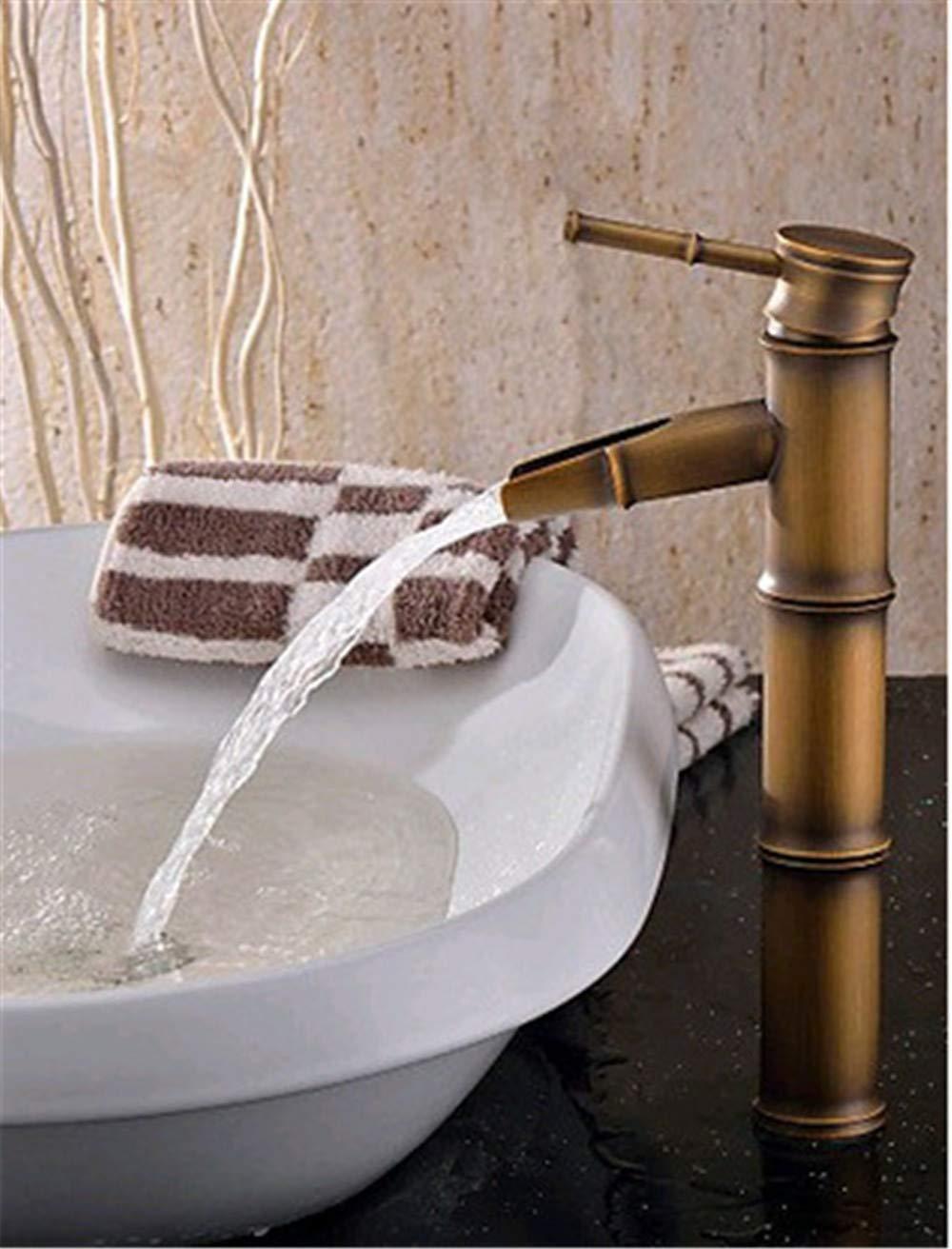 JingJingnet すべて銅盆地の蛇口アンティーク銅シングル竹冷たい洗面台の蛇口 (Color : B) B07RXZ6FMM B