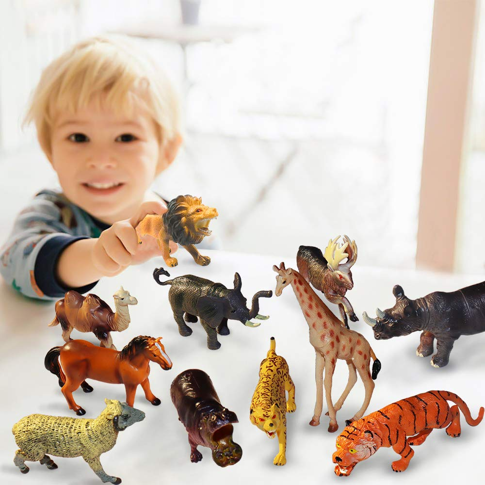 Jungle Great Gift Set for Kids /& Toddlers of 3 Years up Educational Toys of Animal Figurines with a Map for Party Supplies ToyerBee Safari Animals Toy Varieties of Zoo African Animals of 12 Pcs