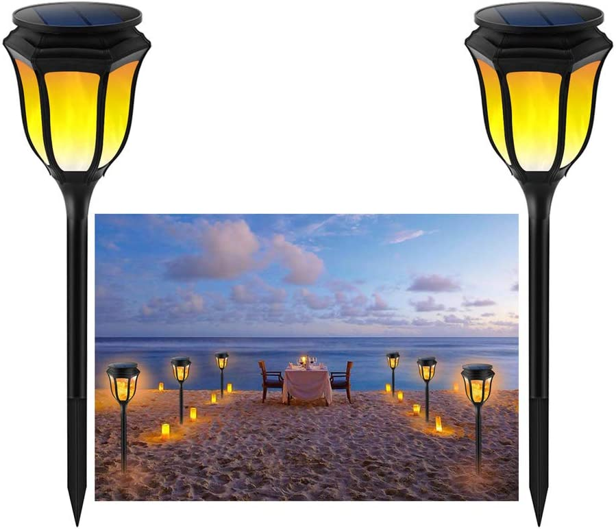 (Pack of 2)Solar Lights, Waterproof Flickering Flames Torches Lights Outdoor Solar Spotlights Landscape Decoration Lighting Dusk to Dawn Auto On/Off Security Torch Light for Patio Driveway