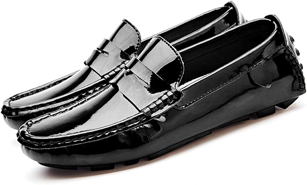 Gooceo Mens Loafers Flats Moccasins Doug Driving Shoes Leather Air Hole Low-top Slip-On