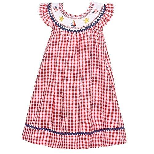 Bonnie Jean Little Girls Red Checkered Print Star Flag Applique Dress 3T ()