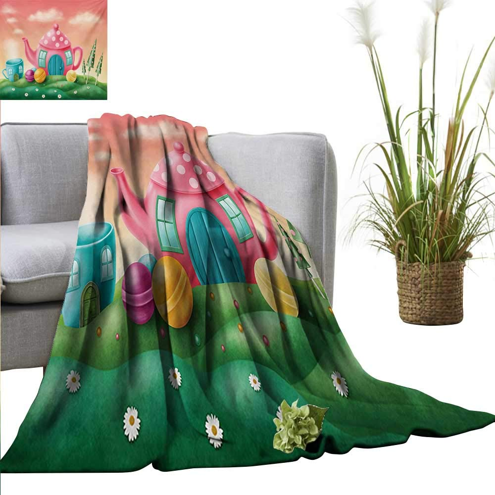"""Ultra Soft Flannel Blanket Fantasy,Fantasy Teapot and Cup Houses Wonderland Theme Meadow Teatime Happiness Artwork,Pink Green Lightweight Microfiber All Season for Couch or Bed 60""""x63"""""""