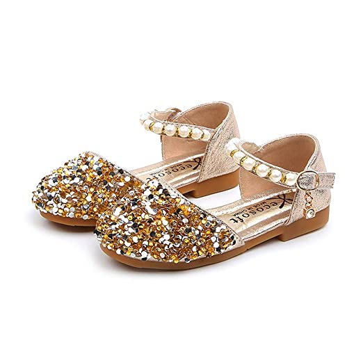 e359230e6895 Amazon.com  ❤ Mealeaf ❤ Toddler Infant Kids Baby Girls Pearl Bling Sequins  Single Princess Shoes Sandals 12 Month -6 Years  Clothing