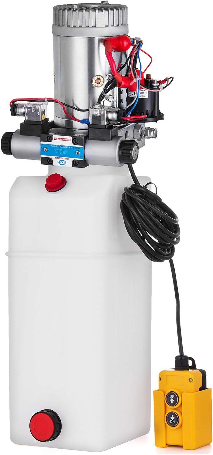 Moracle Bomba Hidráulica de Acción 24V DC con Doble Efecto de Tanque Grande para Descargar la Elevación Automática del Remolque