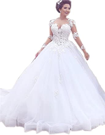 Cloverdresses Womens Long Sleeve Lace Wedding Dresses Ball Gowns ...