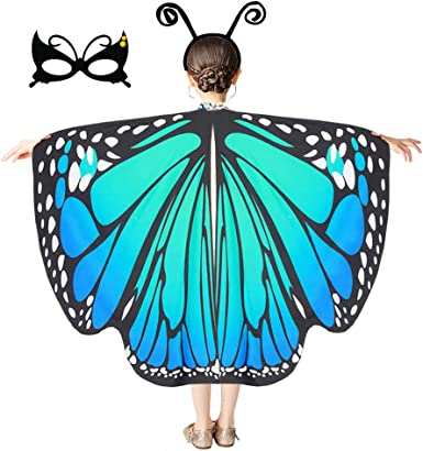Cuteshower Kids Butterfly Wings,Butterfly Costume Halloween Dress Up Outfits with Mask Antenna Headband