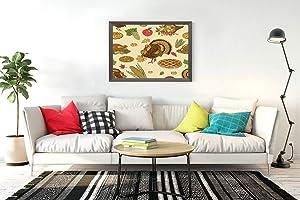 "300 Pieces Jigsaw Puzzles Thanksgiving Turkey Corn Cob Pumpkin Cranberry Apple Pie Pilgrim Hat Oak Leaf 15.2""x21"" Adult Children Wooden Educational Toy Game Supplies for Home Decoration Creative Gift"