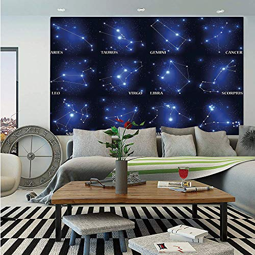 SoSung Constellation Wall Mural,Zodiac Sign Set Symbols and Names Group of Stars Cluster Esoteric,Self-Adhesive Large Wallpaper for Home Decor 83x120 inches,Dark Blue Blue White