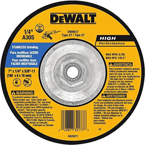 DEWALT DW8417 7-Inch by 1/4-Inch by 5/8-Inch-11 Stainless Steel Grinding (Dewalt Stainless Steel Grinding Wheel)