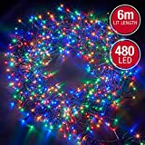 Christmas Lights 480 LED 6m Led Multi Action Tree Lights Cluster Lights; Indoor/Outdoor - Multi-Col