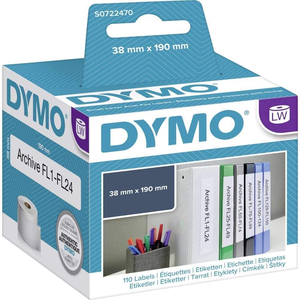 38 x 190 mm Dymo S0722470 Appendere le etichette del registro 110 pezzi per rotolo