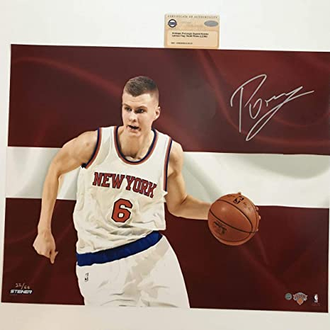 19857ba7f5b7e Image Unavailable. Image not available for. Color  Autographed Signed  Kristaps Porzingis New York Knicks 16x20 Basketball Photo Steiner ...