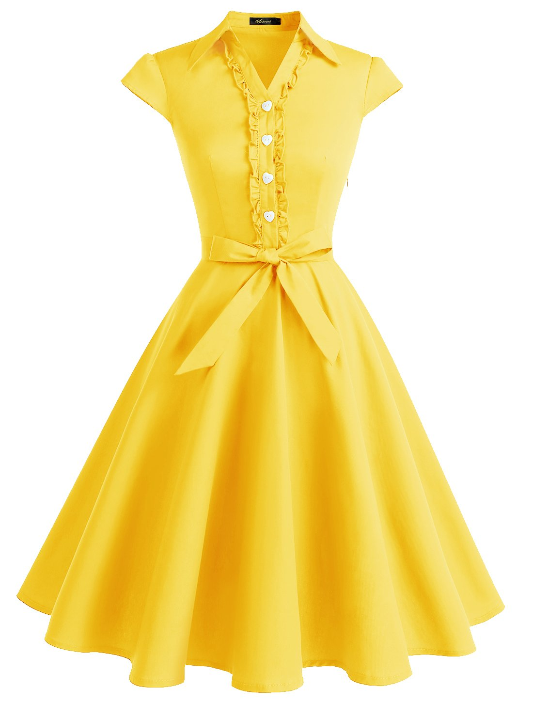 Wedtrend Women's 1950s Cap Sleeves Swing Vintage Party Dresses Multi Colored WTP10007YellowL