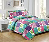 Purple and Teal Bedding Mk Collection 2 Pc Bedspread Teens/girls Pink Purple Teal Heart Flower Peace Sighn Safari New
